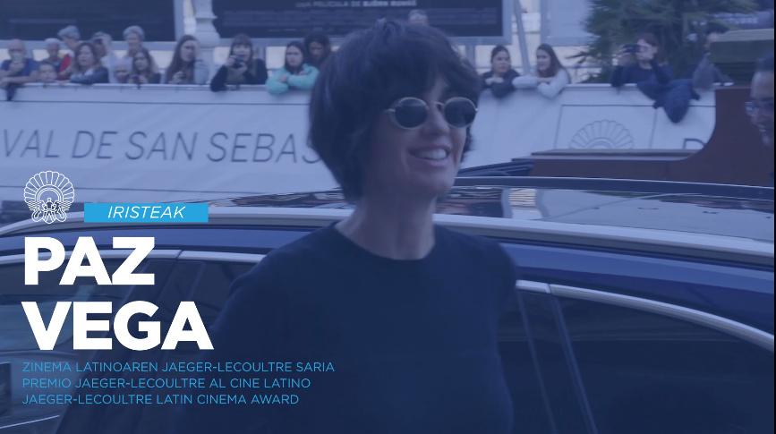 Llegada Paz Vega. Premio Jaeger-LeCoultre al Cine Latino.