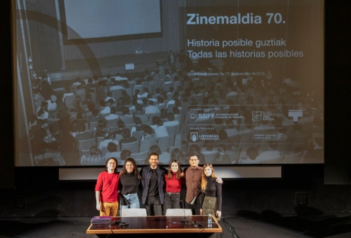 From left to right, the EQZE researchers Felipe Montoya, Clara Rus, Pablo La Parra, Sara Hernández, Antonio M. Arenas and Neus Sabaté at the public programme event.
