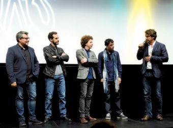 Los productores Rodolfo Cova, Gabriel Ripstein y Michel Franco, el actor Luis Silva y el director Lorenzo Vigas en el Kursaal.