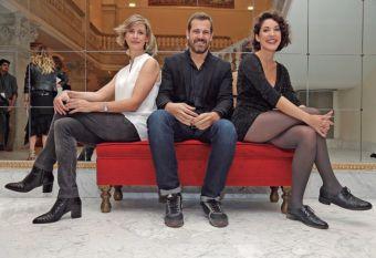 Meijomín, Goenaga and Elorza in the Victoria Eugenia Theatre.